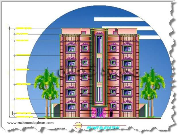 عمارة سكنيّة خمسة أدوار - واجهة عمارة خمسة أدوار Five Story Building