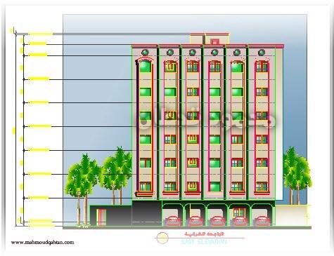 واجهة عمارة ستة أدوار Elevation Six Story Building