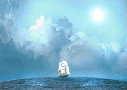 ولمّا كانتِ الأرضُ على شكلِ كرةٍ؛ فإنّ الصّاري والأشرعة في سفينةٍ آتيةٍ من الأفق تُظهر نفسها أمام بدنه