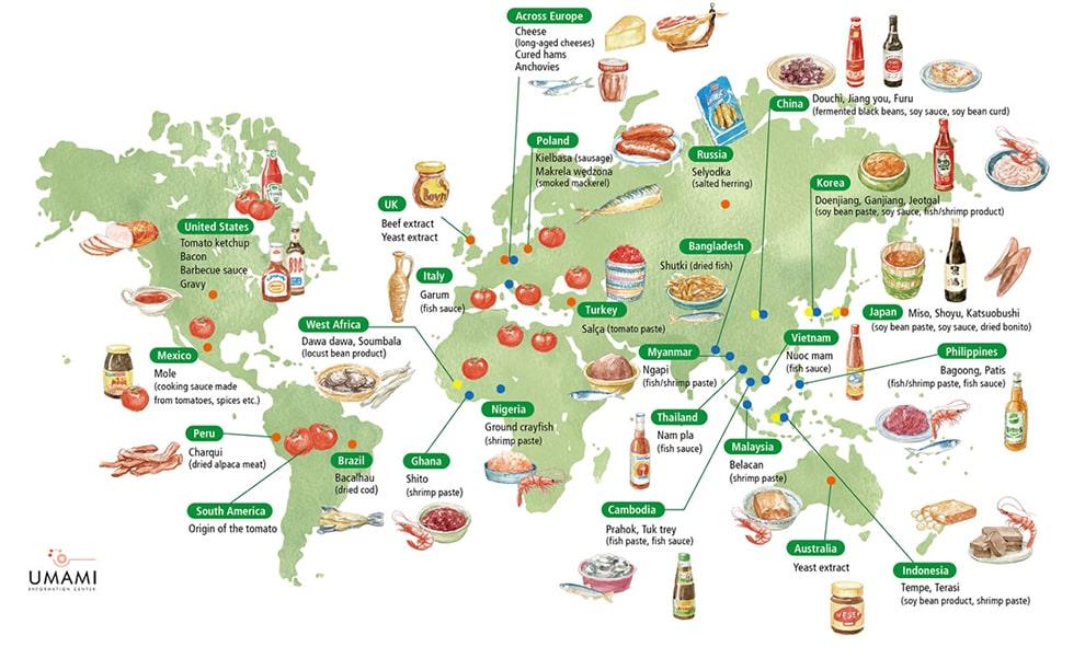 أطعمة الجلوتامات الشّائعة في دولٍ مُختلفة
